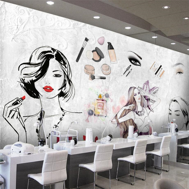 beibehang Custom 3d wallpaper European and American fashion watercolor beauty beauty cosmetic tooling wallpaper wall background