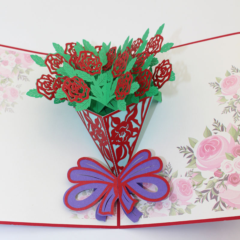 New DIY handmade 3D three-dimensional greeting cards roses flowers paper cutting sculpture