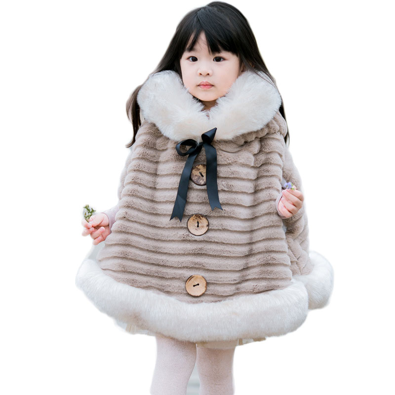 Winter Girls Ponchos Kids Fake Fox Fur Collar Hooded Overcoat Children Cardigan Ponchos Baby Drop Shoulder Sleeve Outerwear G129 недорго, оригинальная цена