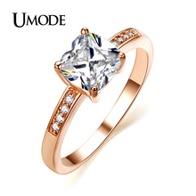UMODE  Rose Gold / Rhodium plated Jewelry Top Grade 7*7mm AAA CZ  Halo Engagement Rings For Women Bijoux AJR0118
