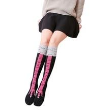 Women Girls Socks Halloween Chicken Toe Print Ladies Fashion Design Fashion Casual Slim 3D Cartoon Long Sock