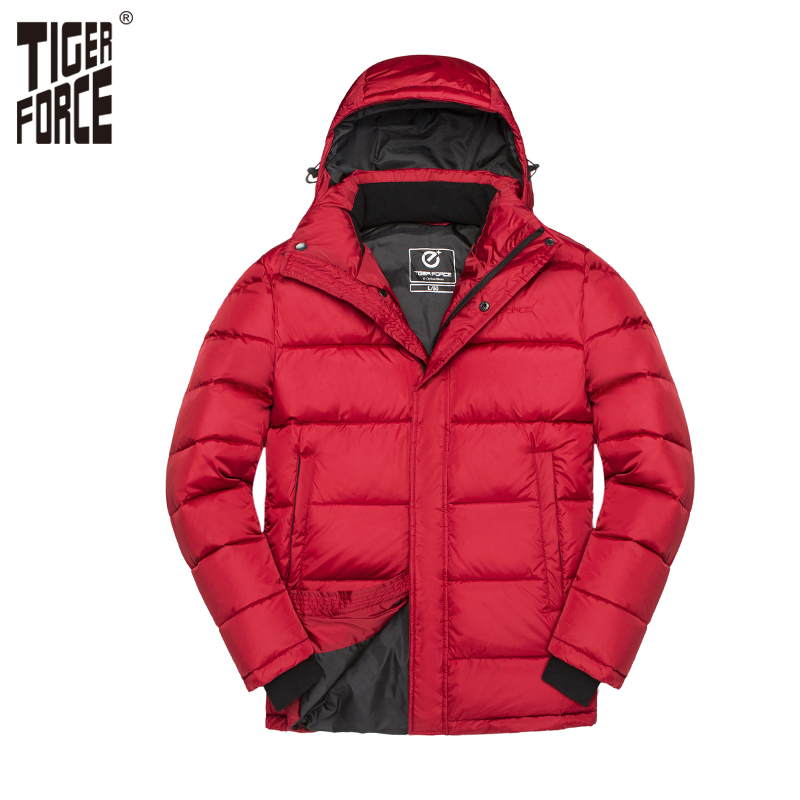 TIGER FORCE 2018 Winter Men Padded Coat Fashion   Parka   Thick Warm Jacket Windproof Coats Thickening Casual Hooded Jackets