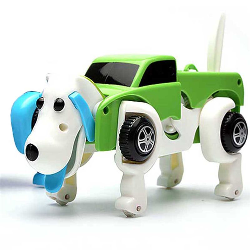 14CM Cool Automatic Transform Dog Car Vehicle Clockwork Wind Up Toys for Children Kids Gift 4 Colors