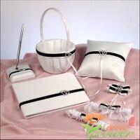 Wedding favors double heart diamond Guestbook Pen Set Ring Pillow Flower Basket bridal garter wedding five piece