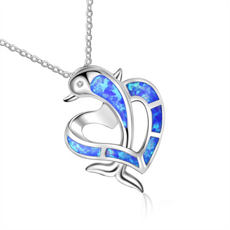 Blue Fire Opal Dolphin Heart Cross Pendants Necklaces for Women Silver Filled Animal Necklace Best Valentine's Day Gift Jewelry