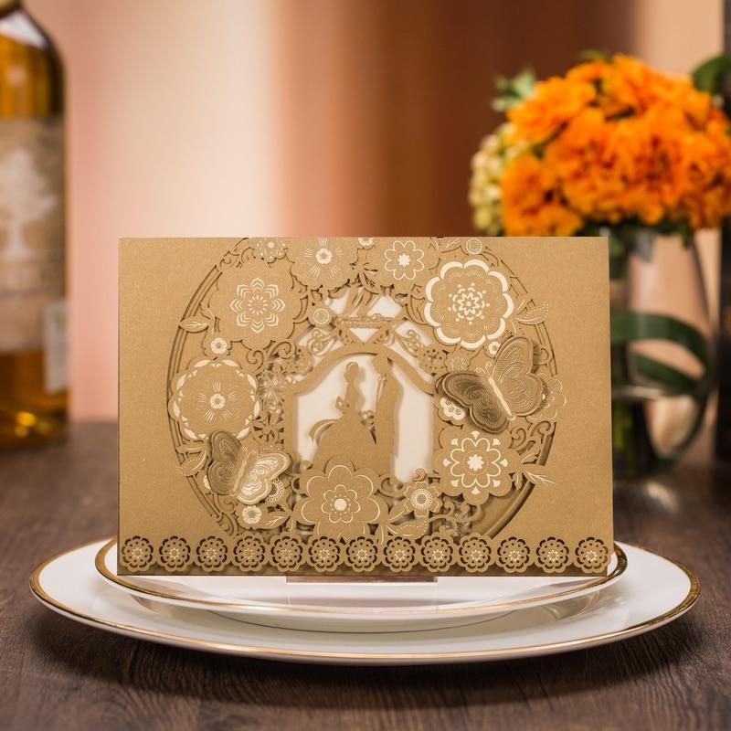 Ev ve Bahçe'ten Kartlar ve Davetiyeler'de (100 adet/grup) gelin ve Damat Altın Düğün Davetiyesi Kartı Pop Up Kelebek Dantel Çiçek Özel Baskı Evlilik Davetiye CX025'da  Grup 1