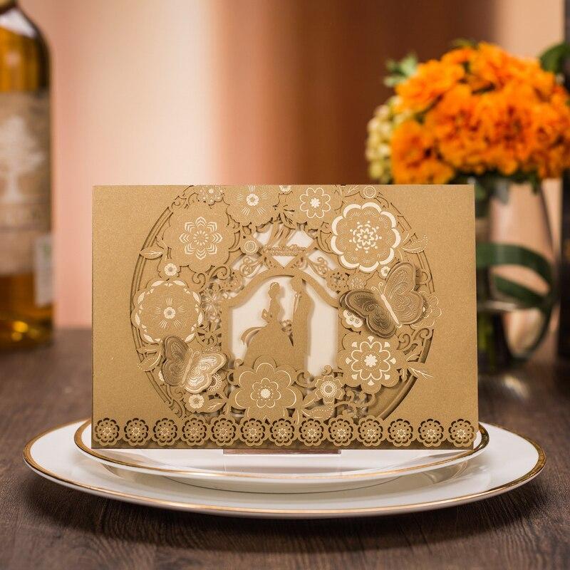 (100 pièces/lot) carte d'invitation de mariage or mariée et marié Pop Up papillon dentelle fleur personnaliser impression Invitation de mariage CX025-in Cartes et invitations from Maison & Animalerie    1