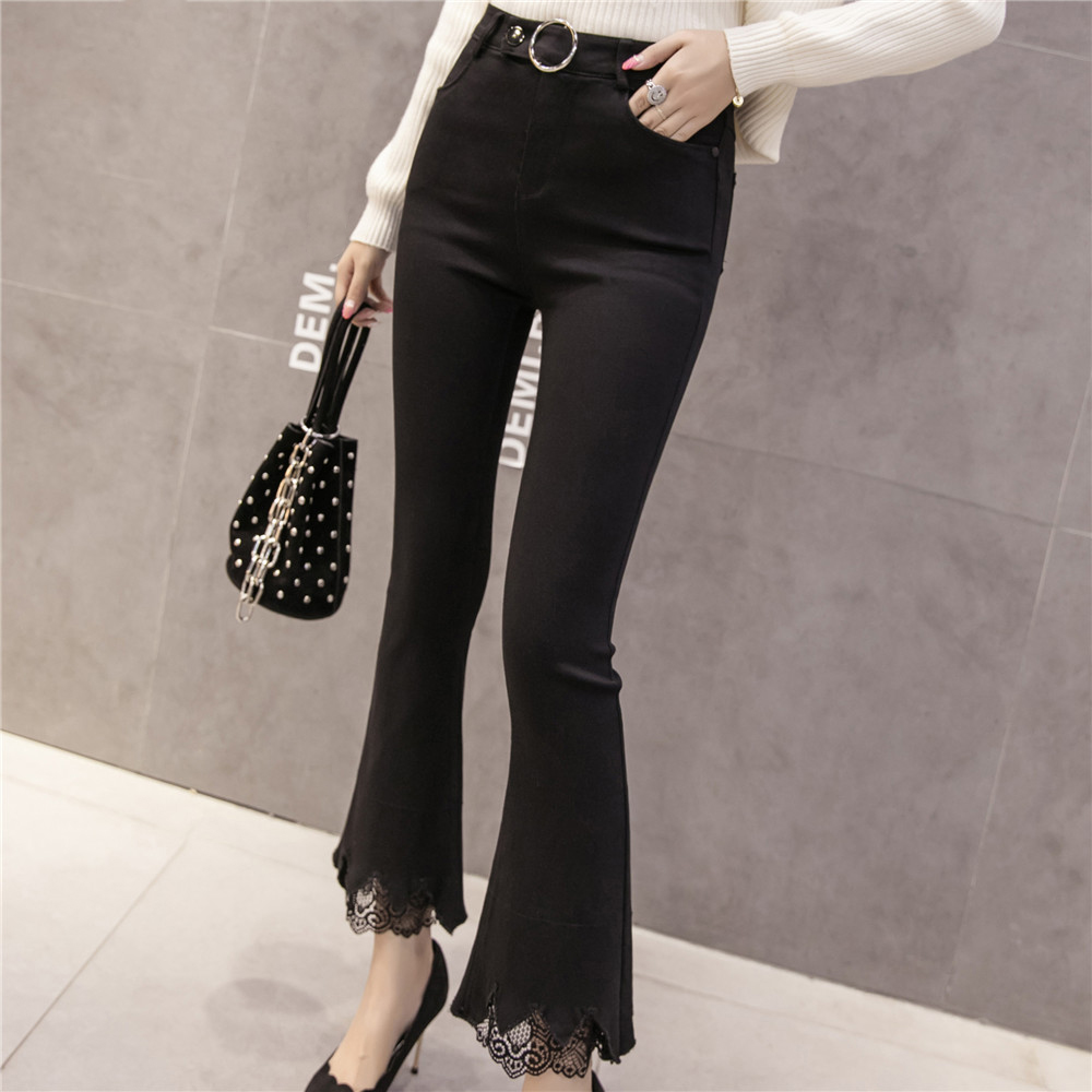 Metal N518d Pants Black Female Trouser High Spliced Lace Ring Skinny Flare Pantalon 8301 Leggings Waist Slim Women Casual Femme For qwFUCz
