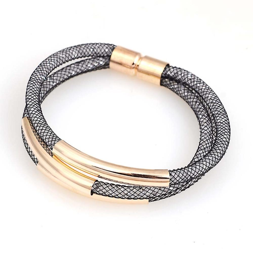 Wholesale Crystal Bracelet Mesh Chain With Inside Full Resin Crystal Bracelet Magnetic Tube Charm Bracelet for women gifts B1435