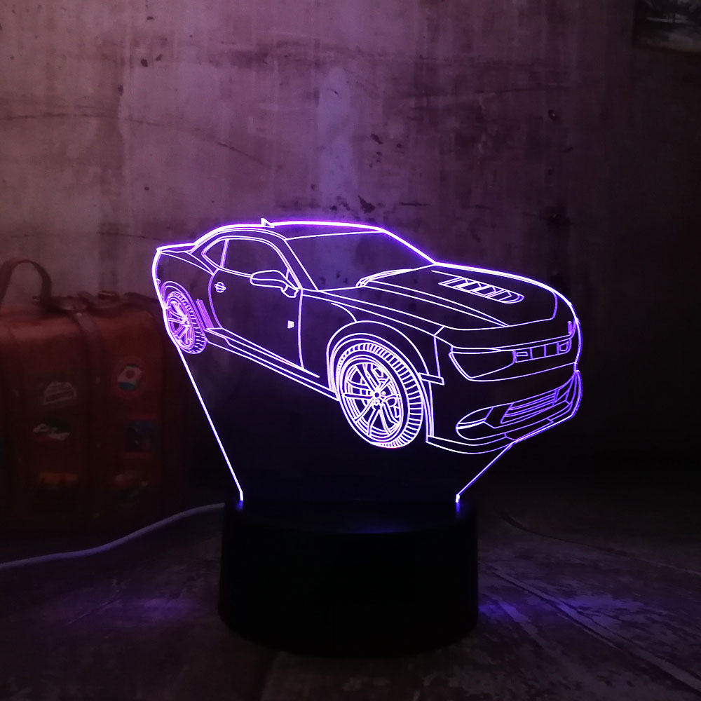 все цены на Modern 3D Car LED Night Light RGB 7 Colors Change USB Touch Bedroom Table Lamp Home Party Decor Boy Kids Gift for Children's Day