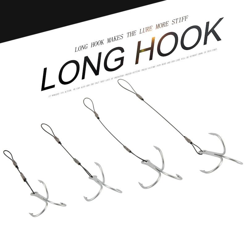 RoseWood Leaders With Treble Hook Fishhooks Metal Jig Hook High Carbon Steel #6 #1 #10 #20 Assist Hooks Line Fishing Hook  (4)