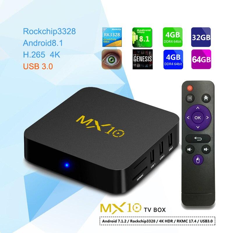 MX10 4GB DDR4 Ram 64GB Rom Smart TV Box Android 8.1 RK3328 Quad Core TVbox 3D 4K HDR Media Player Wifi USB 3.0 4G pk H96 max