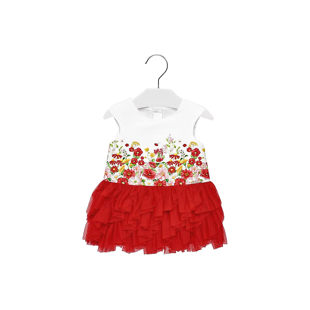 Фото - MAYORAL Dresses 10687178 Girl Children fitted pleated skirt Red Cotton Casual Floral Knee-Length Sleeveless Sleeve box pleated floral volume skirt