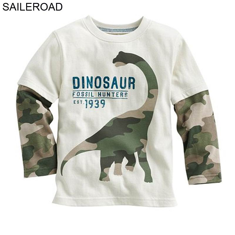 Saileroad Cartoon Dinosaur Boys Long Sleeve T Shirt For 2-8years Old Cotton Children Kids Boys Tops Tees T Shirt Spring Autumn