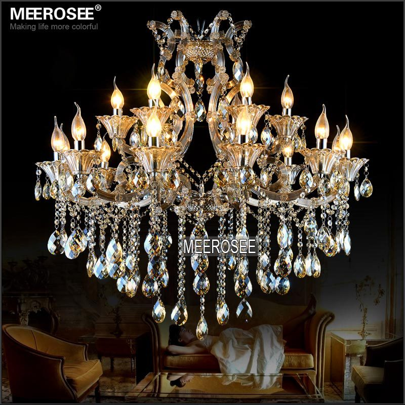 Maria Theresa Crystal Chandelier Light Cognac LED Crystal Lustre 18 Light Lamp for Lobby Stair Hallway project MD2225