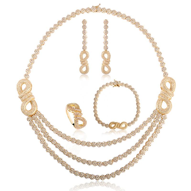 Ensembles de bijoux de mariée en Zircon incrusté classique Madrry couleur or collier en cuivre boucles d'oreilles anneau Bracelet pour femmes robe de Banquet