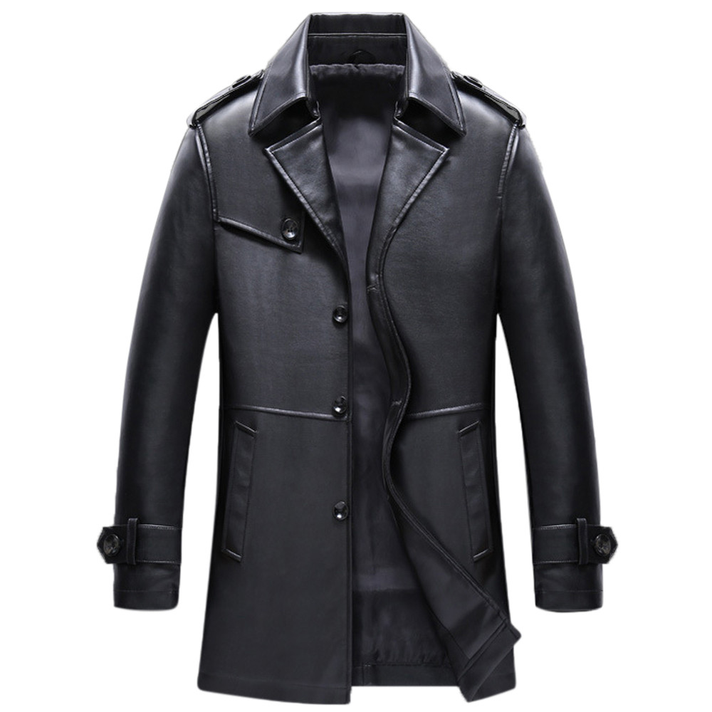 Mens Clothing Leather Jacket Coat Winter Autumn Fashion Streetwear Middle-Length