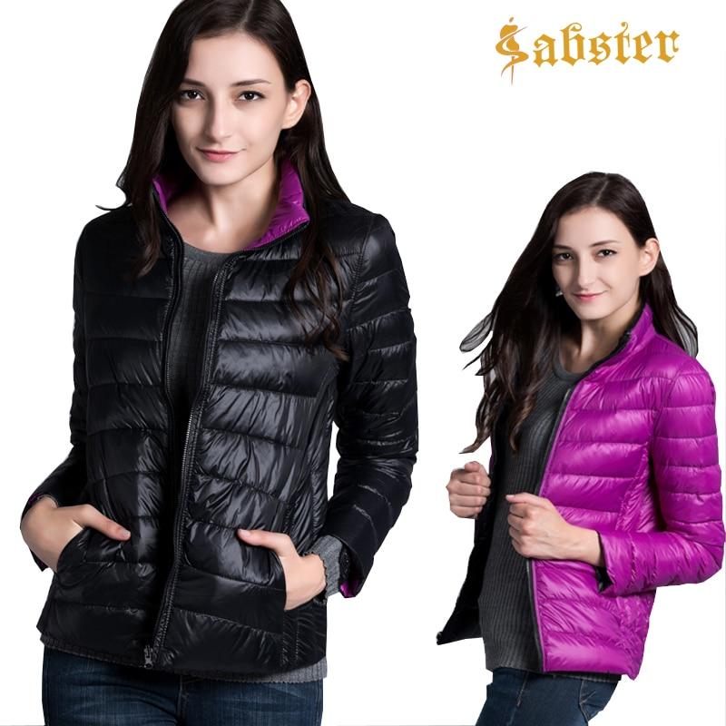 2018 New Fashion Women's Ultra Light Down Jackets Warm Winter Coat Parkas Winter Two Side Women White Duck Down Jacket kz055