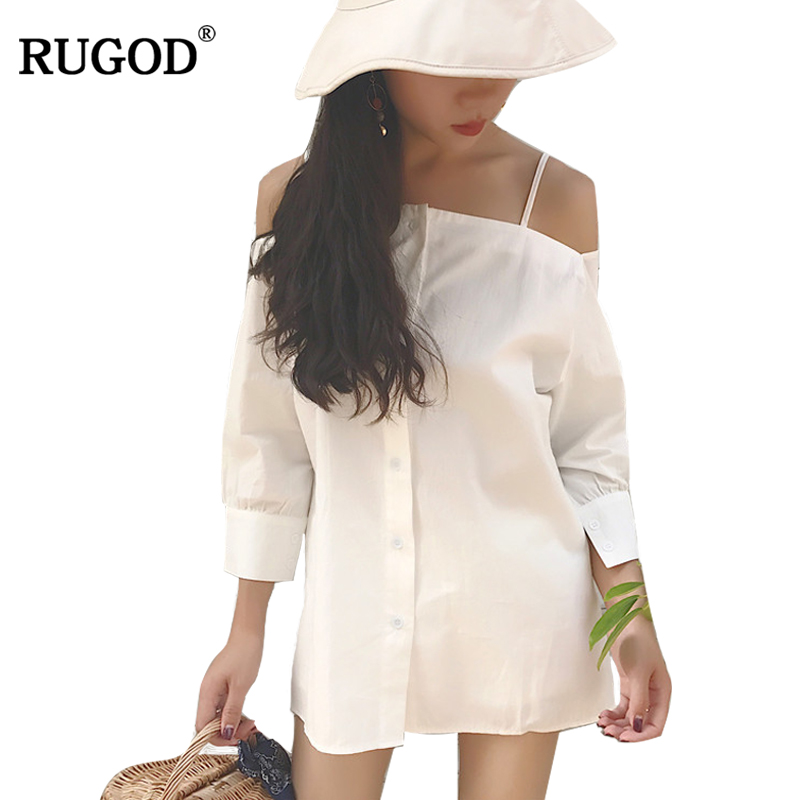RUGOD 2018 New Sexy Slash Neck Three Quarter Sleeve T Shirt Women Off Shoulder White Cotton Long Shirt Casual Tops Kimono