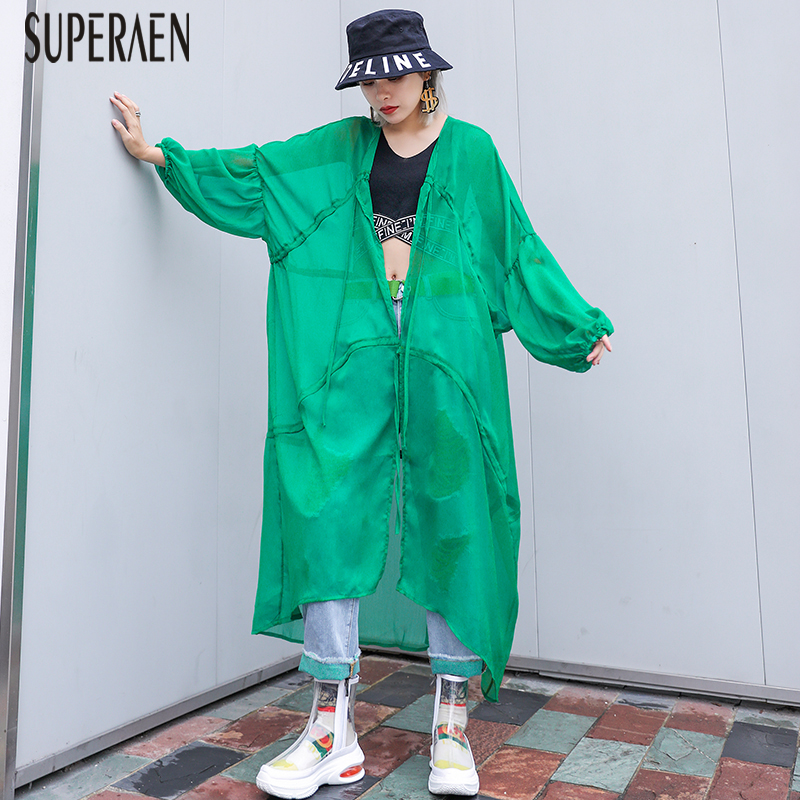 SuperAen Europe Fashion   Trench   Coat for Women Loose Pluz Size Summer New 2019 Ladies Windbreaker Wild Casual Fashion Women Coats