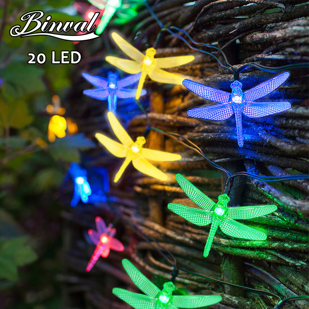 Binval Solar String Lights Waterproof Led Light Outdoor Lighting Dragonfly Party Lights Outdoor Christmas Wedding Decoration