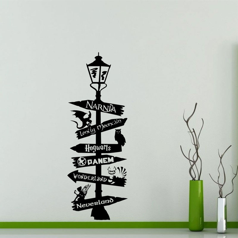 Road Sign Wall Decal Poster Harry Potter Star Wars Narnia Alice Wonderland Quote Sign Geek Gift Vinyl Sticker Art Decor HP03