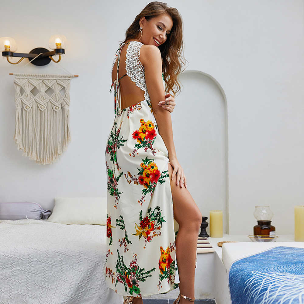 Женское платье, летнее, летнее, без рукавов, сексуальное, модное, бохо, кружевное, повседневное, открытое, коктейльное, с открытой спиной, длинное