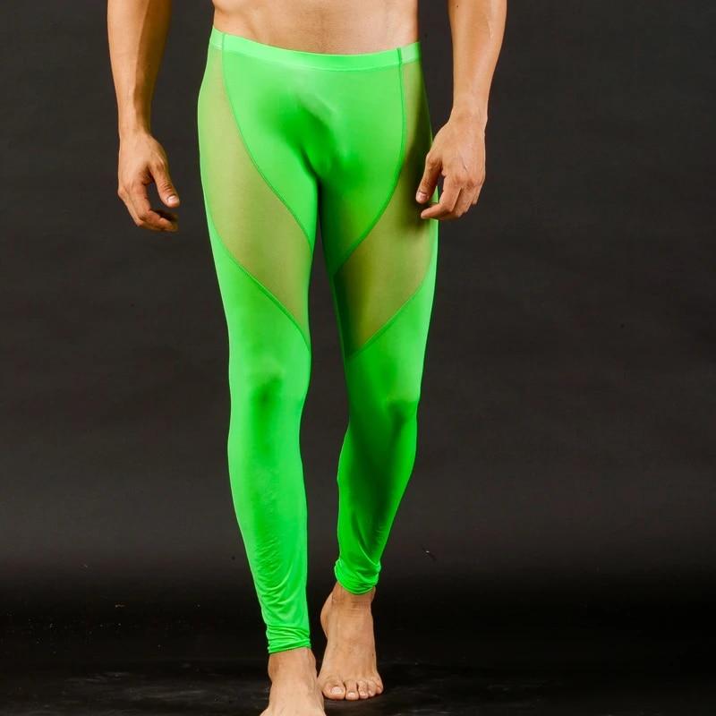 Herren Legging Leggin Lange Unterhose Longjohns Unterwäsche Transparent Hosen