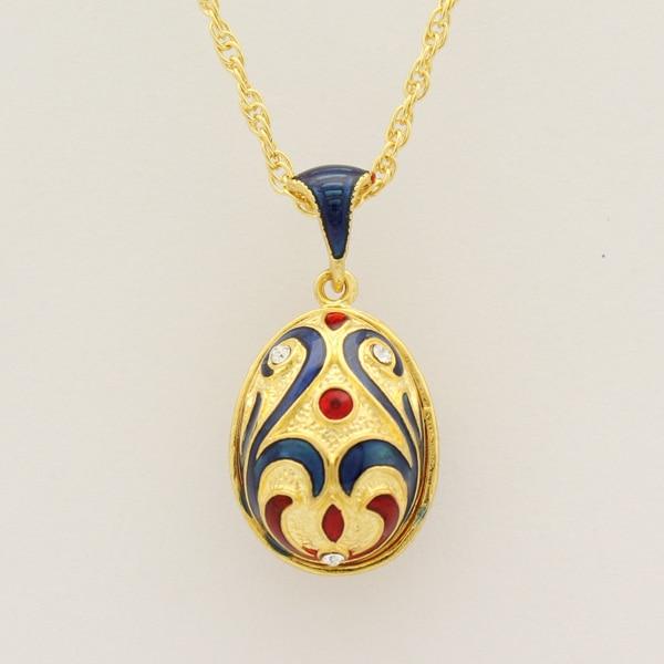 Blue Enamel Handmade Russian Easter Faberge Egg Pendant necklace