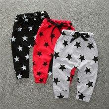 Повседневные штаны-шаровары для маленьких мальчиков и девочек детские штаны с принтом звезды одежда для малышей длинные штаны на весну и осень