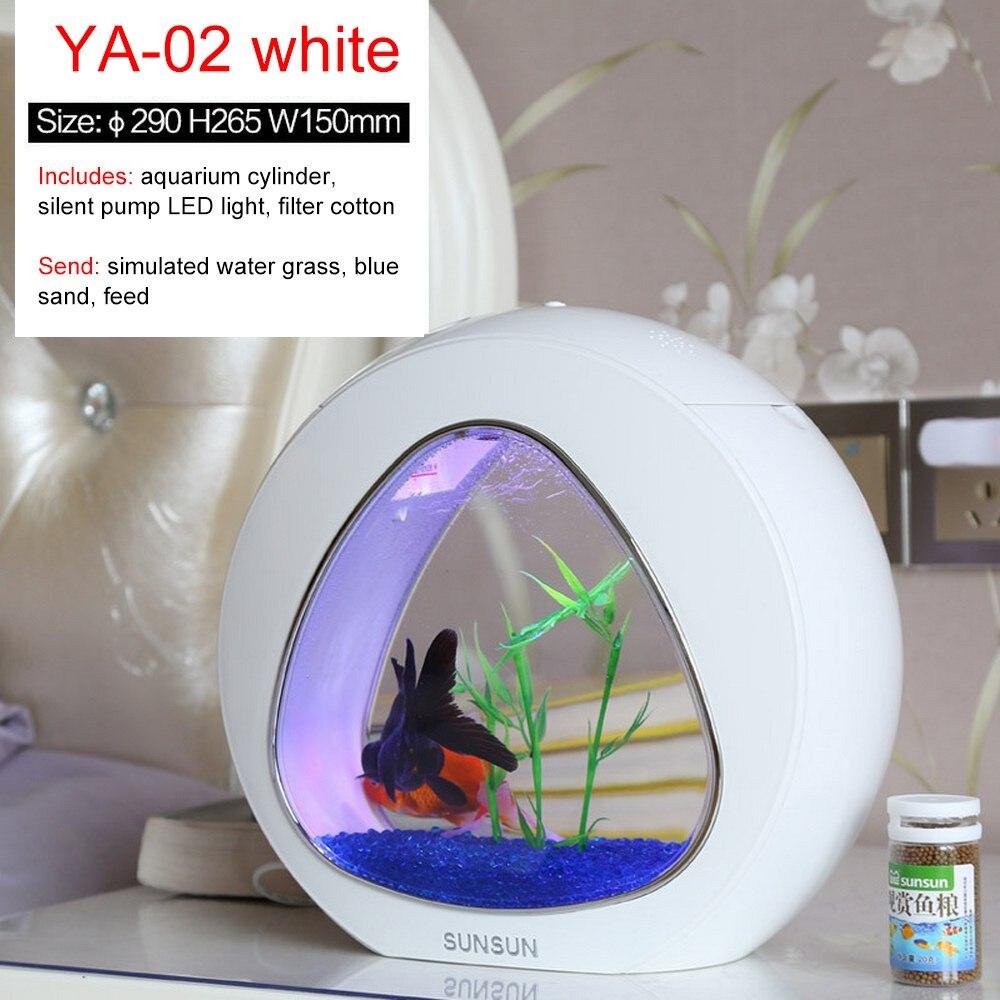 Sunsun 6L Mini Aquarium écologie Aquarium Table Top Mini Aquarium Table avec filtre et lumière LED intégrés 110-220V 50Hz