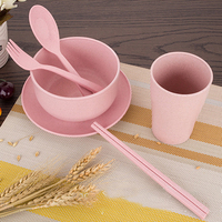 Portable Reusable Wheat Straw Tableware Environment friendly Tableware Gift Set Pink