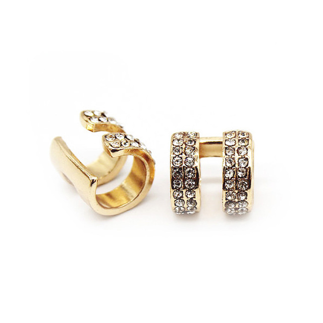Crystal Earrings Small Round Ear Cuff Gold and Silver Plated 2 Rows Rhinestone Clip Earrings 1