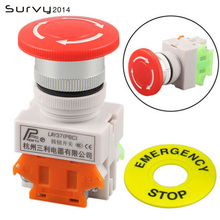1PCS Plastic Shell Red Sign Push Button Switch DPST Mushroom Emergency Stop Button AC 660V 10A NO+NC lhll red mushroom cap 1no 1nc dpst emergency stop push button switch ac 660v 10a