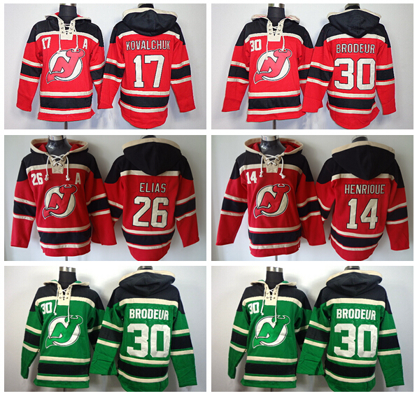 New Jersey Devils Old Time Hoodies 17 Ilya Kovalchuk 30 Martin Brodeur  Hoody 26 Patrik Elias 14 Adam Henrique Ice Hockey Hooded 1b86ec7f9