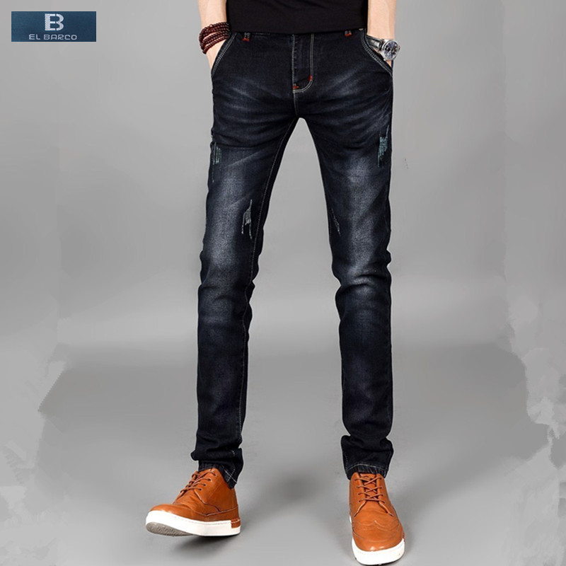 [EL BARCO] Hot Cotton Denim Men Jeans Scratched Soft Breathable Solid Black Male Slim Jeans Pants Casual Long Straight Trousers