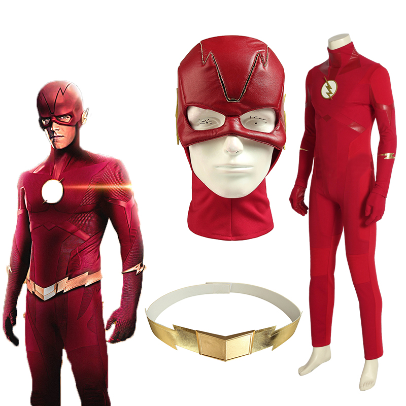 The Flash Season 5 Cosplay Barry Allen Costume Superhero Outfit Halloween Suit Adult Men Custom Made With Mask Accessories