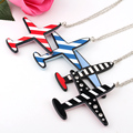 1pc chic fashion crystal necklace vintage arcylic stripe aircraft pendant necklaces for women jewelry
