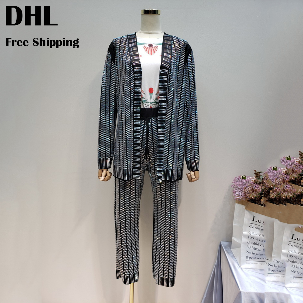 women 3D diamond bling suits set fashion ladies high street drilling pants suit girls party blazer rhinestone two piece set chic