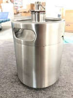 Newest 304 Stainless Steel 5L/3.6L/2L Mini Keg Beer Growler Portable Beer Bottle Home Beer Making With Pressure Relief Valve Lid