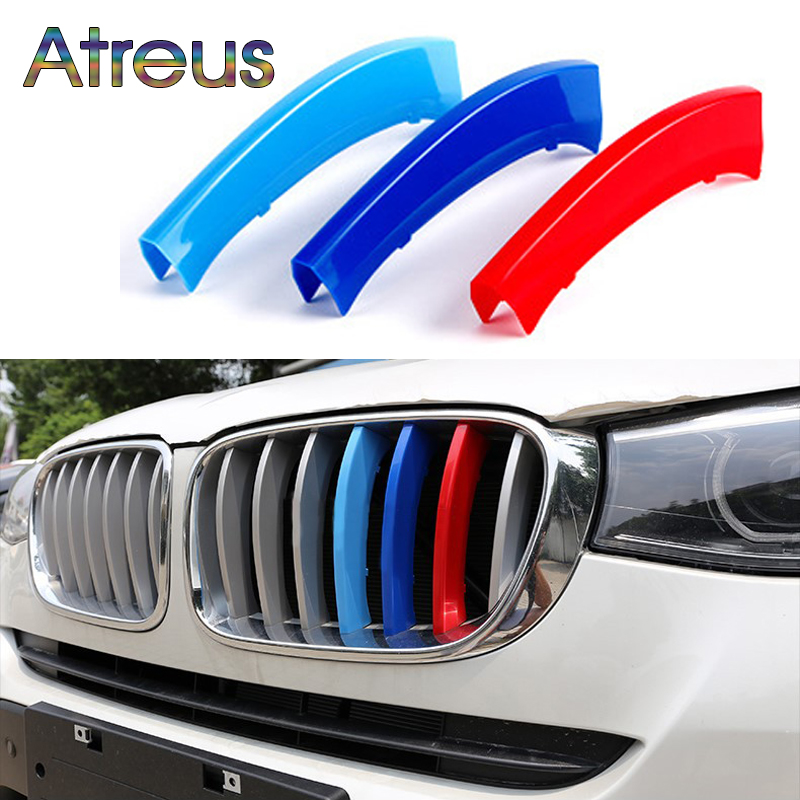 Atreus 3pcs Car Front Grille Trim Sport Strips Cover Stickers For BMW 1 Series F20 F21 F52 Z4 F01 G11 G12 M Power Accessories f20
