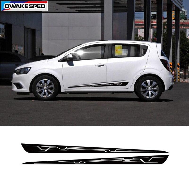 Creative Sport Stripes Car Door Side Skirt Sticker For Chevrolet Sonic AVEO Hatchback Sedan Vinyl Decal Body Accessories