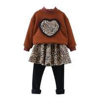 Girls' clothing set 2018 Autumn new Girl turtleneck top children love leopard clothes kid Fashion leopard skirt Two piece suit