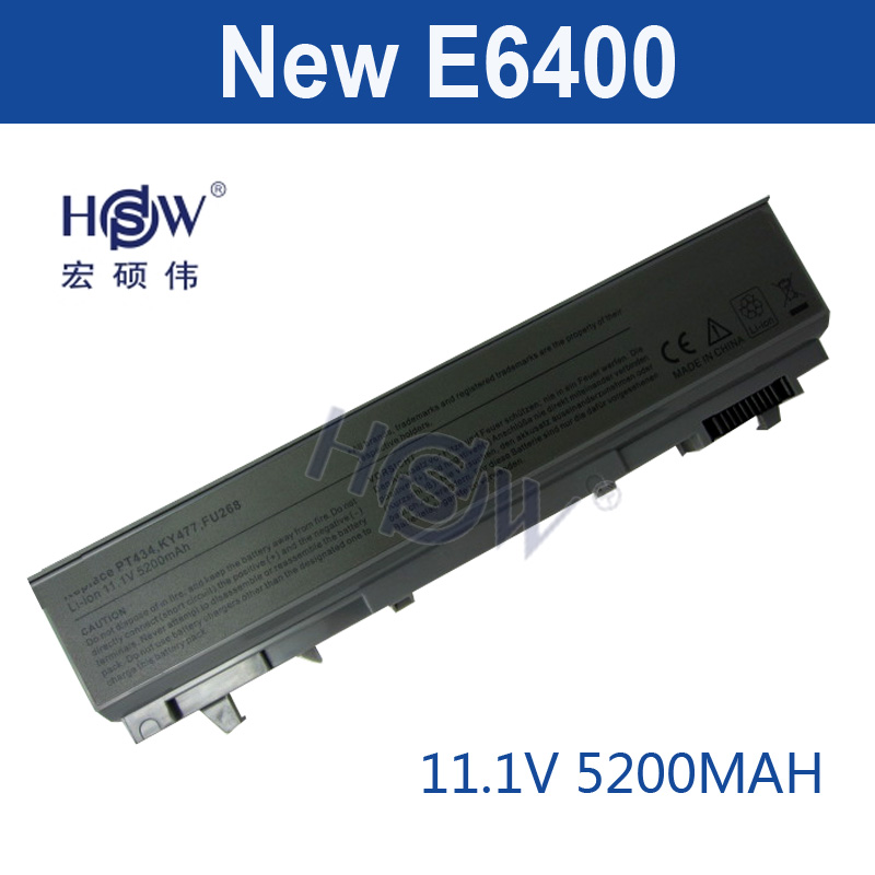 HSW 5200mAh Laptop Battery For dell Latitude E6400 M2400 E6410 E6510 E6500 M4400 M4500 PT436 PT437 KY477 KY265 KY266 KY268  akku jigu laptop battery for dell 8858x 8p3yx 911md vostro 3460 3560 latitude e6120 e6420 e6520 4400mah
