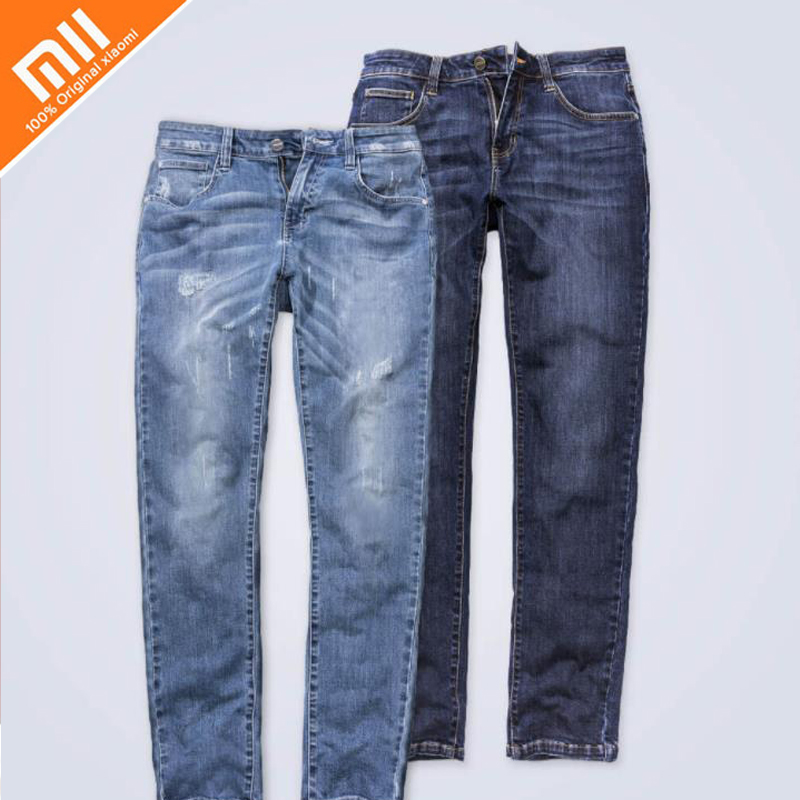 New Xiaomi Men's Comfortable Leisure Not easily deformed Denim Trousers Straight Deep blue Gentleman Mens 90 Stretch Men Jeans brand 2017 new fashion men s straight flanging nine points trousers big embroidered jeans black and blue jeans male m xxl