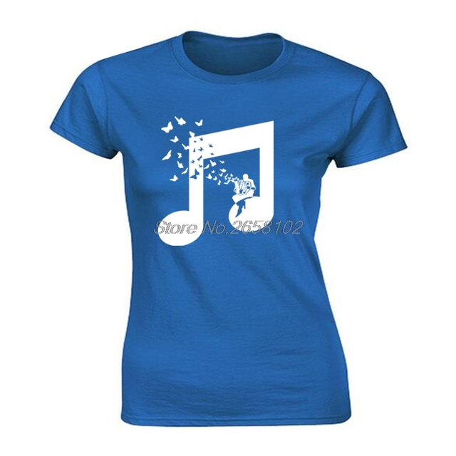 US $8 16 30% OFF|Accordion Butterfly T Shirts women Beautiful Melody Flat  Art Design College Music T Shirt Team Club Tshirt Harajuku-in T-Shirts from