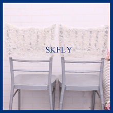 CH028C New cheap 2019 custom made fancy ivory or champagne chiavari wedding embroidery Rosette chiffion half chair covers(China)