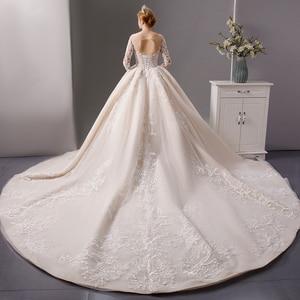 Image 2 - SL 6064 luxury shinny lace ball gown wedding dresses 2019 long sleeves muslim wedding bridal dress
