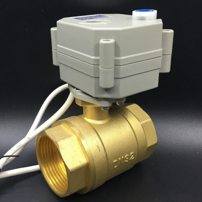 DC5V 2/3/5/7 Wires 2-Way DN32 Motorized Ball Valve BSP 11/4 Electric Valve With Manual Override TF32-B2-BDC5V 2/3/5/7 Wires 2-Way DN32 Motorized Ball Valve BSP 11/4 Electric Valve With Manual Override TF32-B2-B
