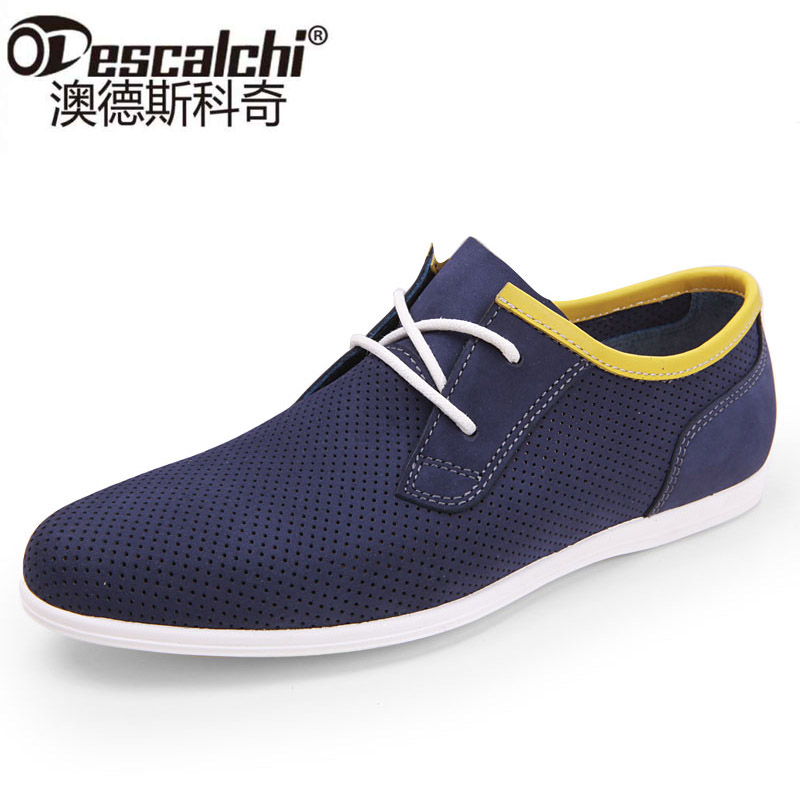 Odescalchi Summer hollow Mens breathable soft Nubuck Leather Men's shoes casual shoes tide 2017 New England punch
